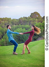 happy playful young couple in love