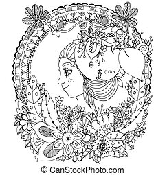 Vector illustration zentangl girl in the floral frame...