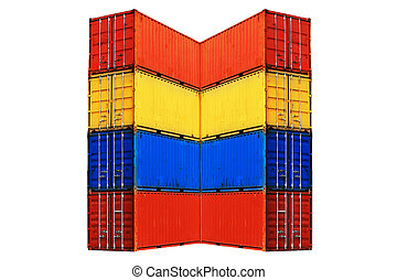 Ten differently colored sea containers stacked, isolated on...