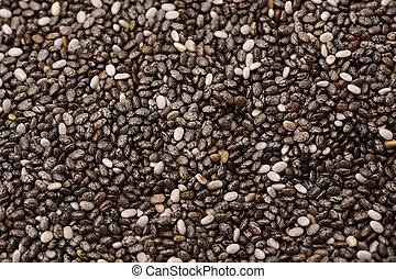chia seeds - closeup of a pile of chia seeds