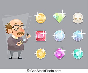Jeweler Valuer Appraiser Quality Check Process Icon Set...