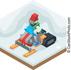 Snowmobile Winter Activity Vacation Journey Flat Design...