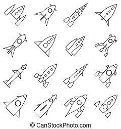 Rocket launch icons set, outline style