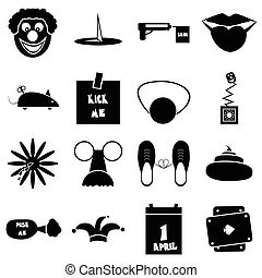 April fools day icons set, simple style