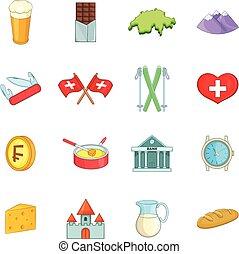 Switzerland travel icons set, cartoon style - Switzerland...