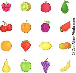 Fruit icons set, cartoon style - Fruit icons set. Cartoon...
