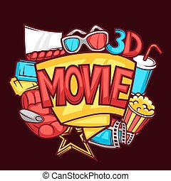 Cinema and 3d movie advertising background in cartoon style.