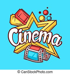 Cinema and movie advertising background in cartoon style.