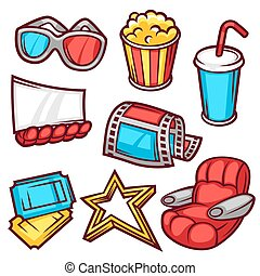 Set of movie elements and cinema objects in cartoon style.