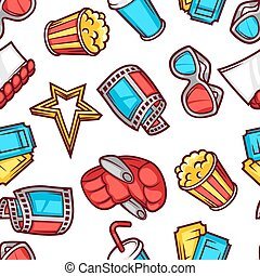 Seamless pattern of 3d movie elements and cinema objects in...