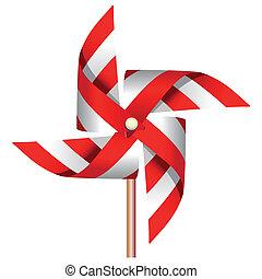 vermelho, moinho de vento, brinquedo