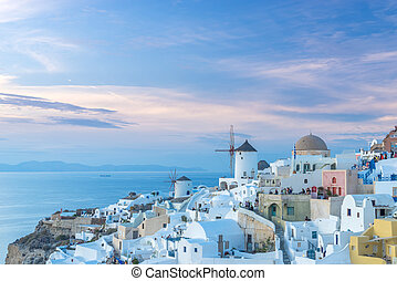 Oia village at sunset, Santorini island
