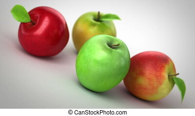 Apples with a Measuring Tape. 3d animation, full HD 1080