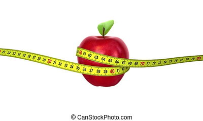 Apple with a Measuring Tape. four options, 3d animation with...