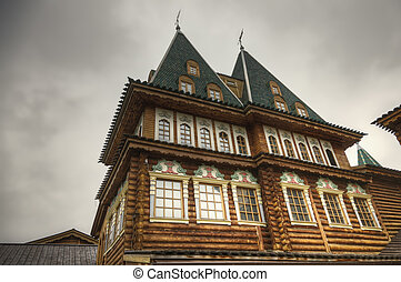 Ornated windows, detail of renovated Tsar Alexis's wooden...