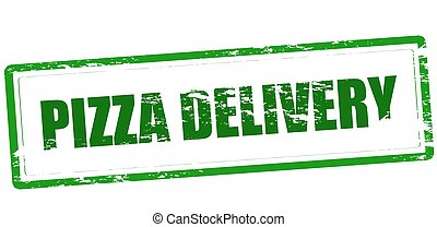 Pizza delivery - Rubber stamp with text pizza delivery...