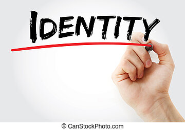 Hand writing Identity with marker, concept background
