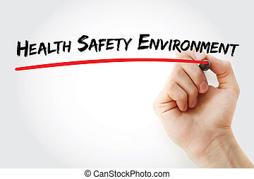 Hand writing Health Safety Environment with marker, concept...