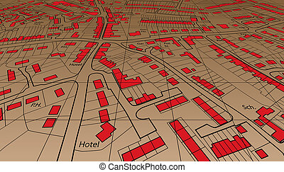 Angled map - Angled view of an editable vector housing map...