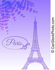 Landmark of Paris - the Eiffel Tower, on lavender background with flowers