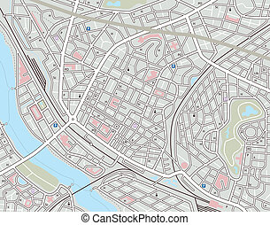 Any city map - Editable vector map of a generic city with no...