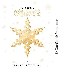 Vector christmas poster with gold hand lettering word - christmas - and big star