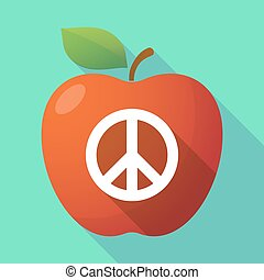 Long shadow apple fruit icon with a peace sign -...