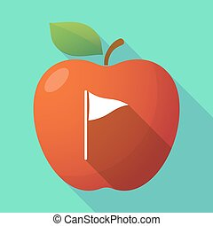 Long shadow apple fruit icon with a golf flag - Illustration...