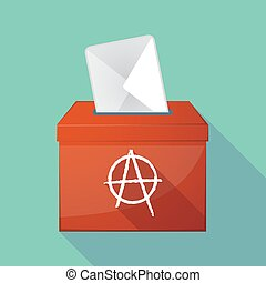 Long shadow ballot box with an anarchy sign - Illustration...