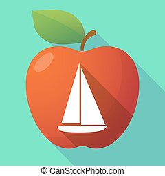 Long shadow apple fruit icon with a ship