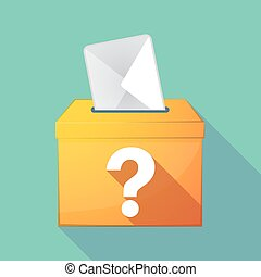 Long shadow ballot box with a question sign - Illustration...