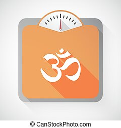 Long shadow weight scale with an om sign - Illustration of a...