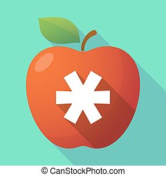 Long shadow apple fruit icon with an asterisk - Illustration...