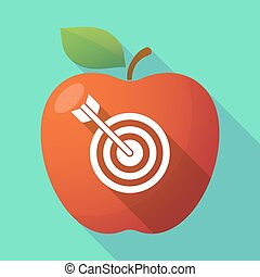 Long shadow apple fruit icon with a dart board -...
