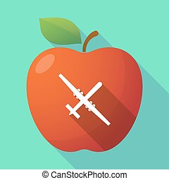 Long shadow apple fruit icon with a war drone - Illustration...