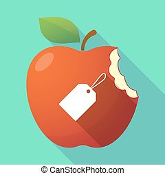 Long shadow apple fruit icon with a label