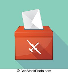 Long shadow ballot box with a war drone - Illustration of a...
