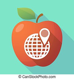 Long shadow apple fruit icon with a world globe