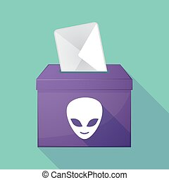 Long shadow ballot box with an alien face - Illustration of...