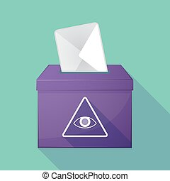 Long shadow ballot box with an all seeing eye - Illustration...