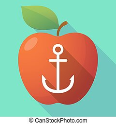Long shadow apple fruit icon with