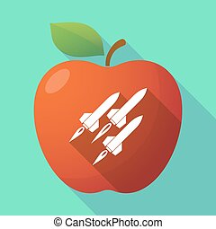 Long shadow apple fruit icon with missiles - Illustration of...