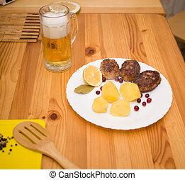 Wiener schnitzel and potatoes - Wiener schnitzel and boiled...