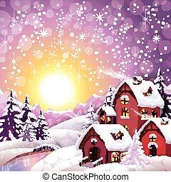 Sunrise Village in Snowy Winter