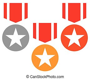 Gold, silver, bronze medals with neckband / ribbon - Flat...