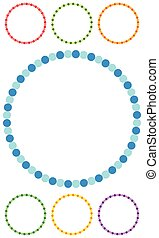 Dotted circle clip-art in seven colors. Dotted circle frames / borders