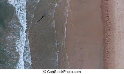 4k Video Lagoa Beach Quarteira, in motion. Fishermen catch...