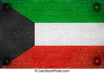 flag of Kuwait or Kuwaiti banner on steel background
