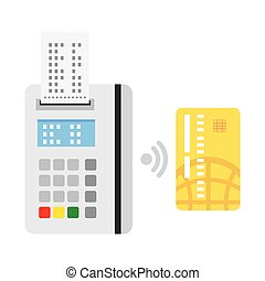 Pos terminal confirms the payment by debit credit card. nfc...