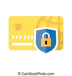 Credit card and Padlock. Concept of a safe payment,...